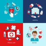 Insieme medico del piano delle icone Fotografie Stock Libere da Diritti