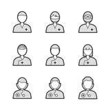 Insieme medico dell'icona di Avatar del chirurgo Fotografia Stock