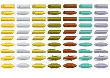 Insieme mega dei bottoni decorativi metallici nei colori differenti con la pendenza Fotografia Stock Libera da Diritti