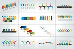 Insieme mega dei modelli infographic di cronologia, diagrammi, presentazioni illustrazione di stock