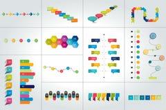 Insieme mega dei modelli infographic di cronologia, diagrammi, presentazioni royalty illustrazione gratis