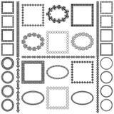 Insieme mega dei telai rotondi etnici e dei confini ovali e quadrati illustrazione di stock