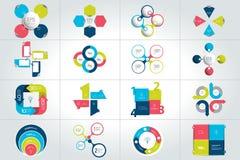 Insieme mega del cerchio, intorno a 4 modelli infographic di punti, diagrammi, grafico, presentazioni, grafico illustrazione vettoriale