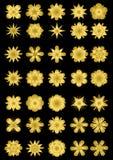 Insieme mega delle forme della stella nella progettazione dell'oro Raccolta splendida per lo spostamento di lusso, manifesto, ale Fotografia Stock