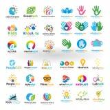 Insieme mega di progettazione di logo di istruzione illustrazione di stock