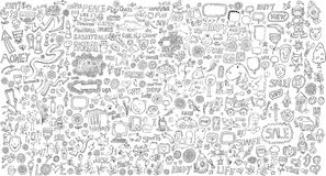Insieme mega di vettore degli elementi di progettazione di scarabocchio Fotografia Stock