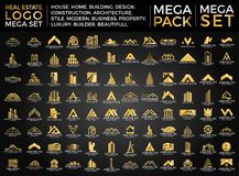 Insieme mega e grandi gruppo, Real Estate, edificio e costruzione Logo Vector Design Fotografie Stock