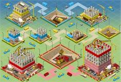 Insieme mega isometrico della costruzione di edifici royalty illustrazione gratis
