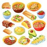 Insieme messicano dell'alimento illustrazione di stock