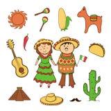 Insieme messicano di vettore dell'icona Fotografie Stock