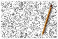 Insieme messicano di vettore di scarabocchio dell'alimento Fotografia Stock Libera da Diritti