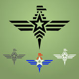 Insieme militare dell'emblema dell'aquila di stile Fotografia Stock Libera da Diritti