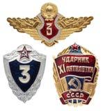 Insieme militare e di lavoro sovietico dell'icona Il migliore lavoratore XI di five-y Fotografia Stock Libera da Diritti