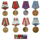Insieme militare sovietico della medaglia Immagine Stock
