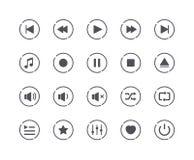 Insieme minimo delle icone del tasto di riproduzione di media illustrazione vettoriale