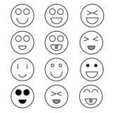 Insieme minimo di vettore Eps10 dell'icona di stile dell'icona di sorriso Fotografia Stock