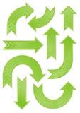 Insieme modellato verde lucido della freccia Fotografia Stock Libera da Diritti
