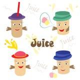 Insieme moderno delle bevande di frutta, succo saporito e sano Immagini Stock Libere da Diritti