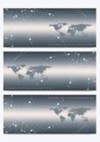 Insieme moderno delle insegne di vettore con la mappa di mondo Presentazione geometrica DNA della molecola e fondo di comunicazio Fotografie Stock Libere da Diritti