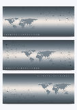 Insieme moderno delle insegne di vettore con la mappa di mondo Presentazione geometrica DNA della molecola e fondo di comunicazio Immagine Stock