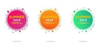 Insieme moderno di progettazione del modello delle insegne di vendita di estate Vendita tropicale del contesto illustrazione vettoriale