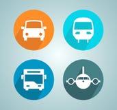Insieme moderno piano dell'icona del cerchio del treno dell'aereo del bus dell'automobile di trasporto Fotografia Stock