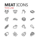Insieme moderno semplice delle icone della carne Fotografie Stock