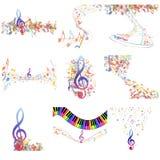 Insieme multicolore del personale delle note musicali Fotografia Stock