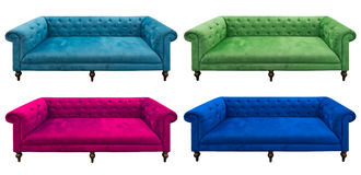 Insieme multicolore del sofà isolato Fotografie Stock Libere da Diritti