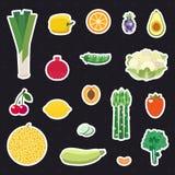 Insieme multicolore di vettore degli autoadesivi della frutta e della verdura (icone) Progettazione piana di Minimalistic Fotografia Stock Libera da Diritti