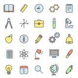 Insieme multicolore di vettore delle icone del profilo di scienza e di istruzione illustrazione vettoriale