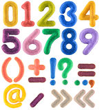Insieme multicolore fatto a mano di numero con i segni di interpunzione da feltro Fotografia Stock Libera da Diritti