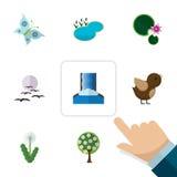 Insieme naturale dell'icona piana del gabbiano, del monarca, dell'uccello e di altri oggetti di vettore Inoltre include l'acqua,  Immagine Stock