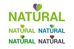 Insieme naturale variopinto piano dell'emblema di logo, cuore con permesso organico royalty illustrazione gratis