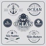 Insieme nautico d'annata di vettore delle etichette Illustrazione Vettoriale