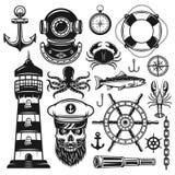 Insieme nautico degli oggetti di vettore e degli elementi di progettazione illustrazione di stock