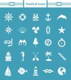 Insieme nautico dell'icona Fotografia Stock Libera da Diritti