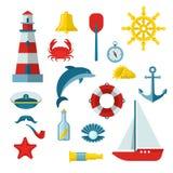 Insieme nautico dell'icona illustrazione di stock