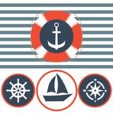 Insieme nautico dell'icona Ancora, salvagente, volante della nave Fotografie Stock Libere da Diritti