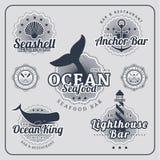 Insieme nautico di vettore delle etichette del ristorante d'annata Royalty Illustrazione gratis