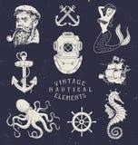 Insieme nautico disegnato a mano d'annata Fotografie Stock