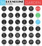 Insieme nero bianco dell'icona del cerchio degli strumenti di giardino di vettore Linea moderna progettazione dell'icona del nero Immagini Stock Libere da Diritti