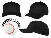 Insieme nero del berretto da baseball Immagini Stock Libere da Diritti