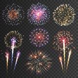 Insieme nero del fondo dei pittogrammi del fuoco d'artificio Fotografia Stock Libera da Diritti