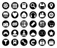 Insieme nero dell'icona del cerchio Immagine Stock
