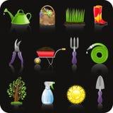 Insieme nero dell'icona del giardino Fotografia Stock