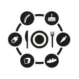 Insieme nero dell'icona dell'alimento di vettore Fotografie Stock