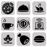 Insieme nero dell'icona dell'alimento Icone premio Fotografia Stock