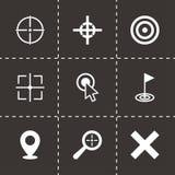 Insieme nero dell'icona dell'obiettivo di vettore Immagini Stock