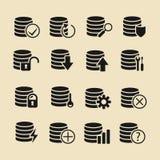 Insieme nero dell'icona della base di dati di vettore Immagine Stock